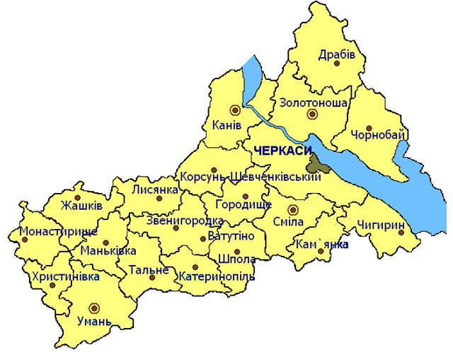 map of Cherkasy oblast