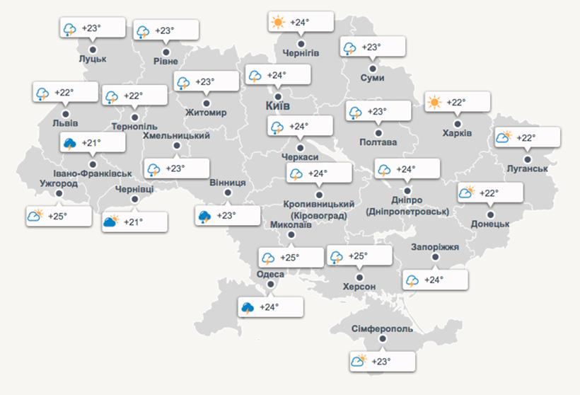 weather map of Ukraine