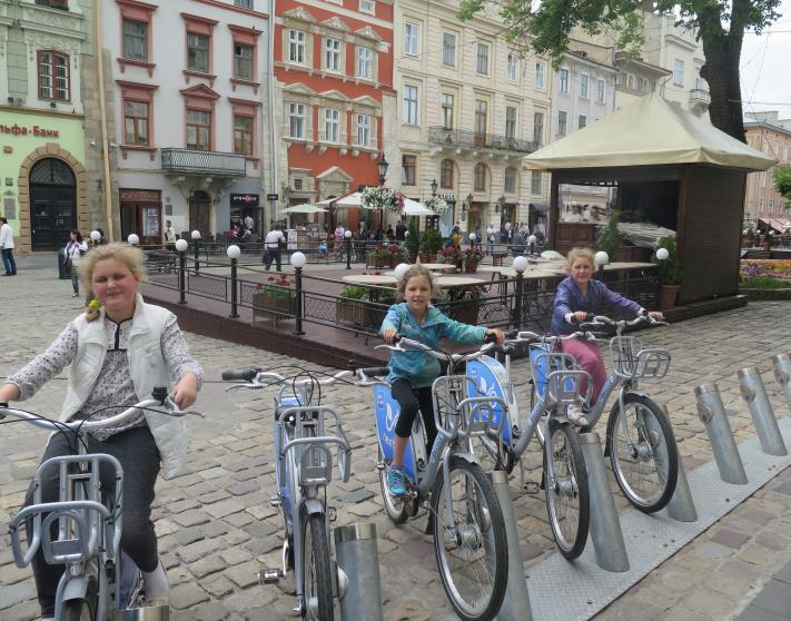 a photo of kids riding bikes