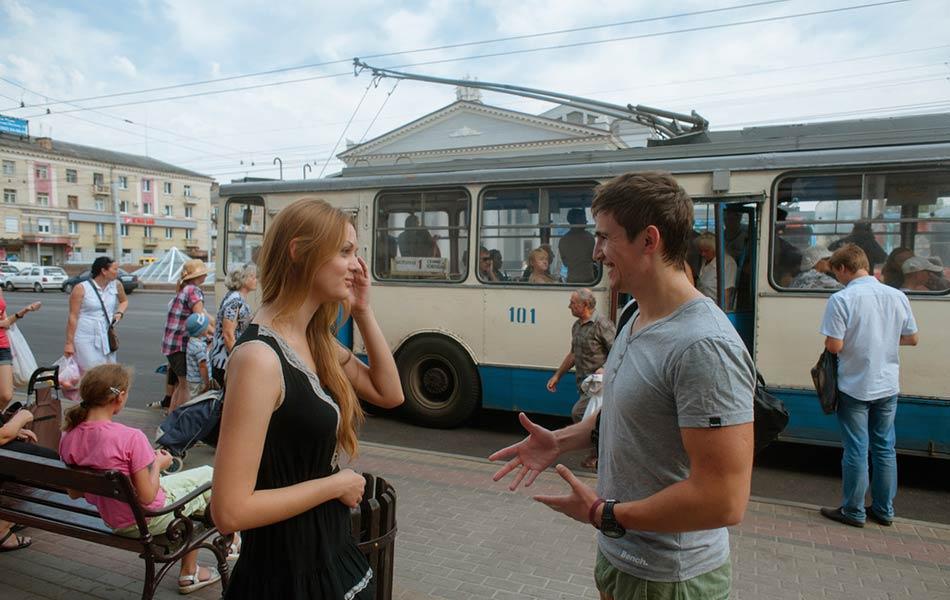 Oksana and Luka having a conversation