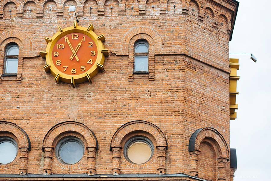 a clock on the old building